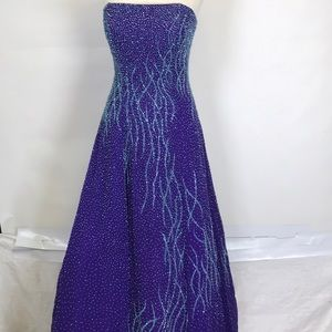 Strapless gown purple sequin vintage style size 2